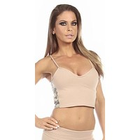 Sexy Concealment Green Digital Camo Military Athletic Crop Top - Tan/Green
