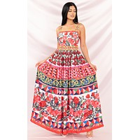 Dream Getaway Red Pink White Yellow Blue Floral Sleeveless Square Neck Beaded Accent Pleated Maxi Casual Dress