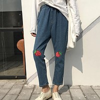 Strawberry Patch Boyfriend Jeans