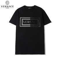 Versace New fashion diamond letter couple lapel top t-shirt Black
