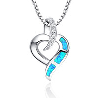Sterling Silver Heart W. Blue and Green Fire Opal Pendant Necklace