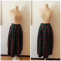 Womens Vintage Plaid Green Red Maxi Christmas Holiday Full Length Skirt Size 6