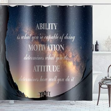 Waterproof Shower Curtain, Polyester Bathroom Curtain Starry Sky Inspirational Declaration Snow-Capped Mountains Printed Pattern Decorative Curtain sets with 12 Hooks, Standard Size 72 x 72 Inch Lwl-shower Curtain 9 72inchx72inch