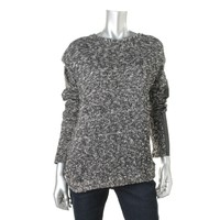 VELVET BY GRAHAM & SPENCER Womens Metallic Faux-Trim Pullover Sweater