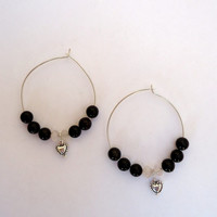 Sterling silver hoop earrings with black jasper,pink quartz and antique silver tone hearts hanging in between