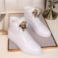 Versace Womens Fashion Tribute Ankle Boots Leather Zipper Ankle Short Boots Flats High Heels sneaker high top Shoes white