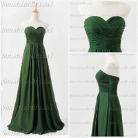 Real A-line Sweetheart Sleeveless Floor-length Chiffon Pleat Green Long Bridesmaid Dresses Prom Dresses Evening Dresses 2014 New Arrival