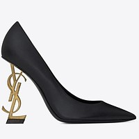 YSL 2019 new ultra high heel pointed shallow mouth wild with stiletto women's shoes single shoes 15#