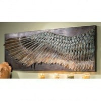 Design Toscano Wing of Icarus Sculptural Metal Wall Frieze in Stone - MH270348 - All Wall Art - Wall Art & Coverings - Decor