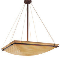 Justice Design Group PNA-9794-25-SAWT-DBRZ Porcelina Dark Bronze Eight-Light 36-Inch Square Bowl Pendant with Ring and Sawtooth Shade