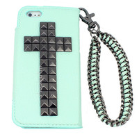 Mint wallet phone case for Galaxy S4, Galaxy S3, Galaxy Note 2, iPhone 4 4S, iPhone 5, or iPod Touch 5 with studded gunmetal cross and chain