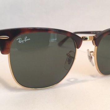 Ray Ban Clubmaster Sunglasses RB3016 WO366 Tortoise Frame 51mm Classic G-15 Lens