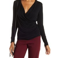 Ruched Long Sleeve Wrap Top by Charlotte Russe