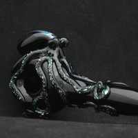 Octopus Hand Blown Dichroic Glass Pipe Thick Wall Spoon Artwork