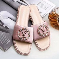 Louis Vuitton LV Women Fashion Rhinestone Slipper Sandals Shoes