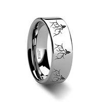 Reindeer Deer Stag Head Print Engraved Flat Tungsten Wedding Band for Men and Women - 4MM - 12MM