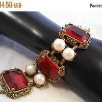 ON SALE Red Rhinestone KARU Signed Jewelry, Glass Chunky Bracelet, Mid Century Collectible, Mad Men, Old Hollywood Glamour, 1940s 1950s