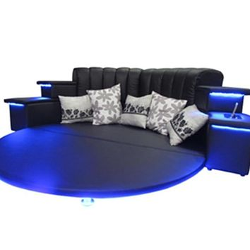 Modern Style Romantic Round Black Bed Furnitures With LED Multifunctional