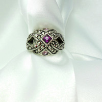 Avon Ring Size 6 Marcasites and Amethyst Colored Rhinestone