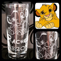 Personalised Disney Simba, Lion King Glass With Free Message Engraved. Totally Unique Gift For Any Disney Fan!