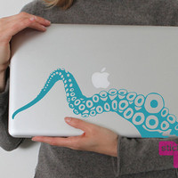 NEW Tentacle laptop vinyl decal/sticker in TEAL by stickypic
