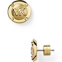 Michael Kors MK Gold Button Earrings | Bloomingdale's