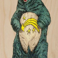 Angry Black Bear Standing w/ Shooting Star on Stomach - Plywood Wood Print Poster Wall Art