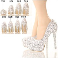 silver rhinestone Women shoes pumps crystal wedding shoes heels platform high heels party shoes silver pumps for women