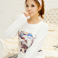 City Print Long Sleeve Graphic T-Shirt