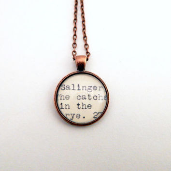 Gift under 25, Catcher in the Rye book necklace, book lovers jewelry, library jewelry, gifts for readers, Salinger fan