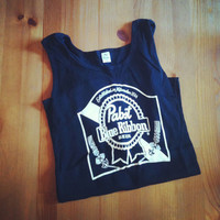 SIZE MEDIUM Black PBR Pabst Blue Ribbon Beer A Shirt / Tank Top Ribbed (some ppl call it a wife beater but I hate that)