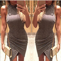 2016 Sexy Package Hip Handkerchief Erotic Casual Party Playsuit Clubwear Bodycon Boho Dress _ 8819