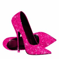 Elegant Hot Pink Glitter High Heel Shoes