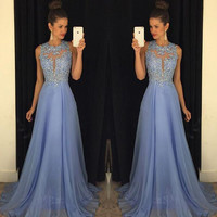 Prom Dress 2016 Best Selling O Neck Sleeveless A Line with Appliques Beaded Chiffon Customize Party Dresses