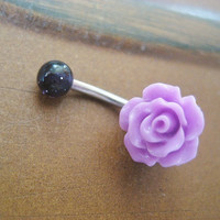 Lavender Purple Rose Belly Button Ring Navel by Azeetadesigns