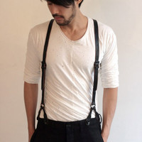 hipster style black suspenders
