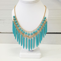 Turquoise Stone Spindle Necklace