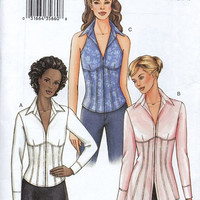 Vogue Sewing Pattern Fitted Blouse Misses Shirt Long Sleeve or Halter Top Business Casual Wide Collar Uncut FF Bust 34