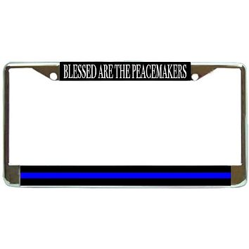 Peacemakers Thin Blue Line Police Support Blue Lives License Plate Frame Holder Chrome