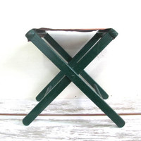 Vintage rustic green Folding Camping Table or Fishing Camp Stool Chair