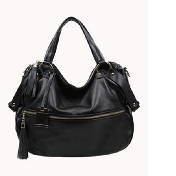 Alison Leather Shoulder Bag Black
