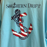 Southern Drift Anchor Pocket Tee- Red , White, Blue in Comfort Colors