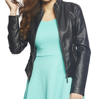 Smocked Fitted Moto Jacket | Wet Seal