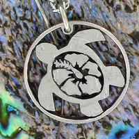 Hibiscus Flower in Turtle quarter cut coin necklace