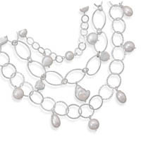 17in x 2in Extension Triple Strand Necklace with Cultured Freshwater Pearls