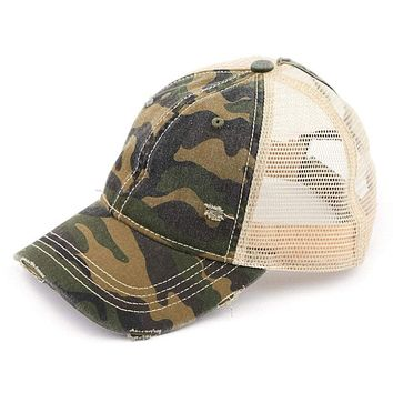 C.C. Camouflage Mesh Back High Ponytail Cap