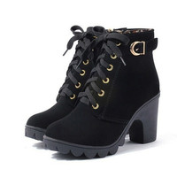 High Quality Solid Lace-up European PU Leather Boot