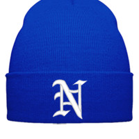 N EMBROIDERY HAT png - Beanie Cuffed Knit Cap