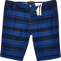River Island MensBlue stripe shorts