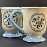 Footed Light Blue Oriental Rose Ceramic Mug Set (2)